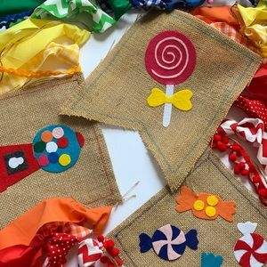Candyland-Themed Fabric Banner *HANDMADE*